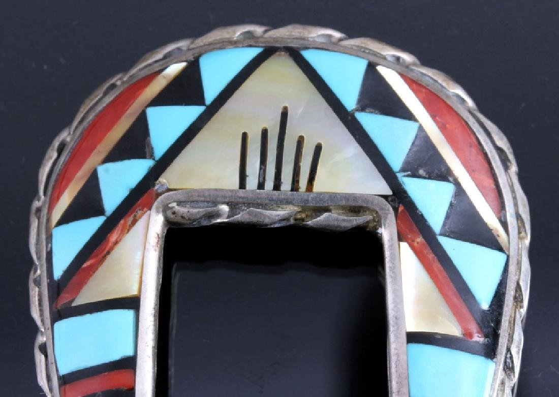 Zuni Sterling Silver Inlaid Ranger Belt Buckle Set - 3