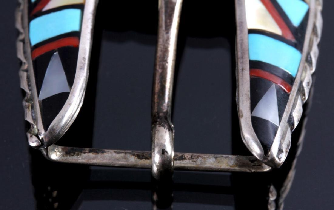 Zuni Sterling Silver Inlaid Ranger Belt Buckle Set - 4