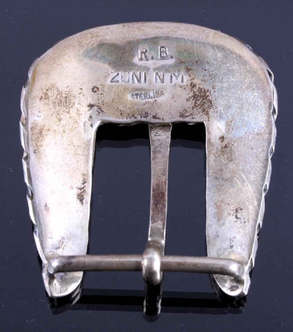 Zuni Sterling Silver Inlaid Ranger Belt Buckle Set - 5