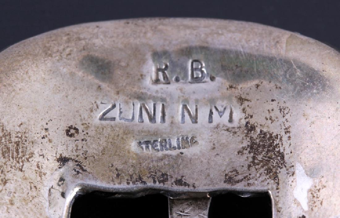 Zuni Sterling Silver Inlaid Ranger Belt Buckle Set - 6