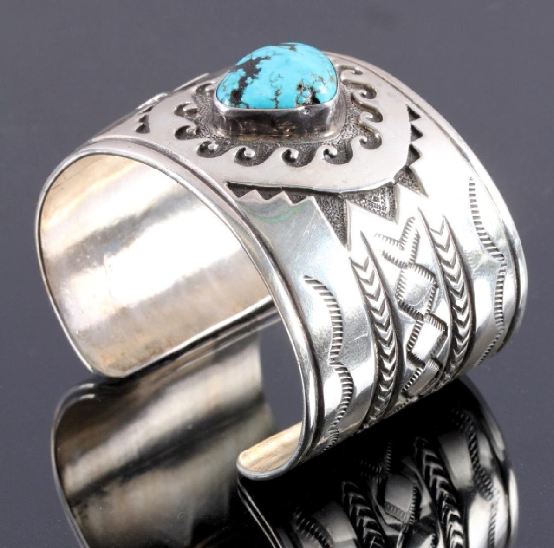 Christopher Hoskie Navajo Sterling Turquoise Cuff - 2