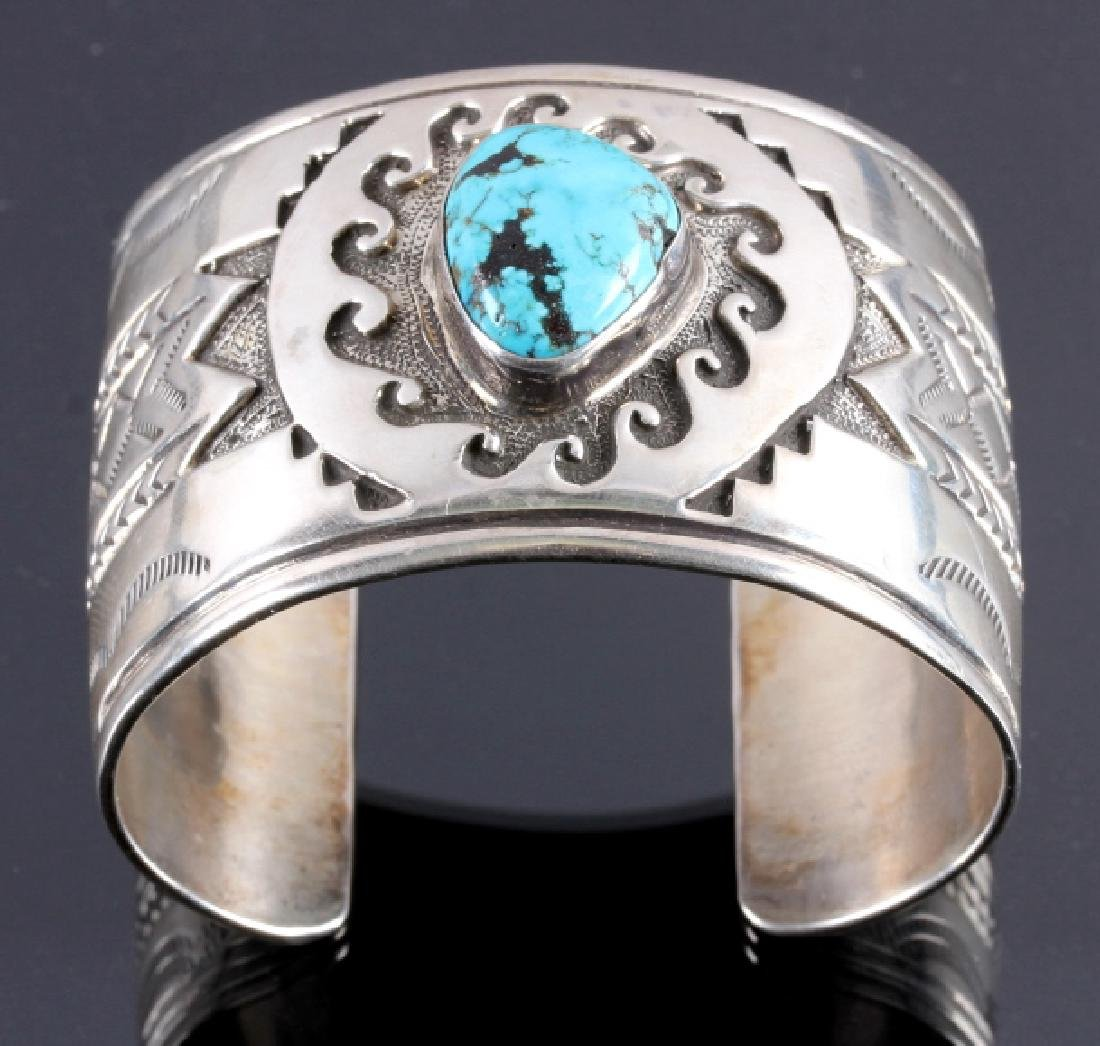 Christopher Hoskie Navajo Sterling Turquoise Cuff - 3