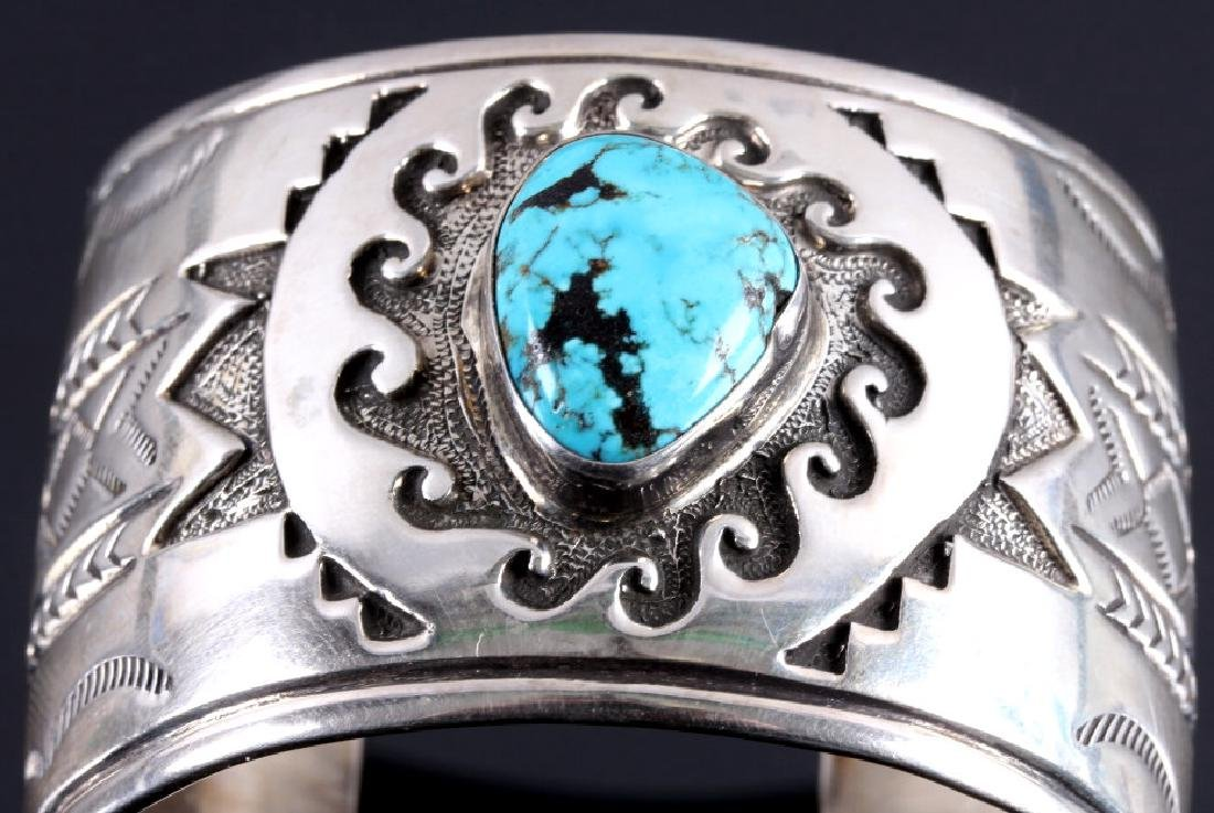 Christopher Hoskie Navajo Sterling Turquoise Cuff - 4