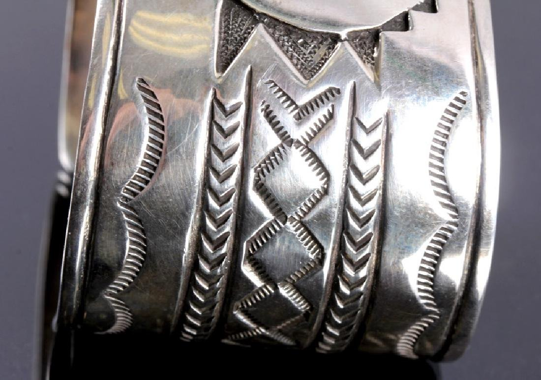 Christopher Hoskie Navajo Sterling Turquoise Cuff - 5
