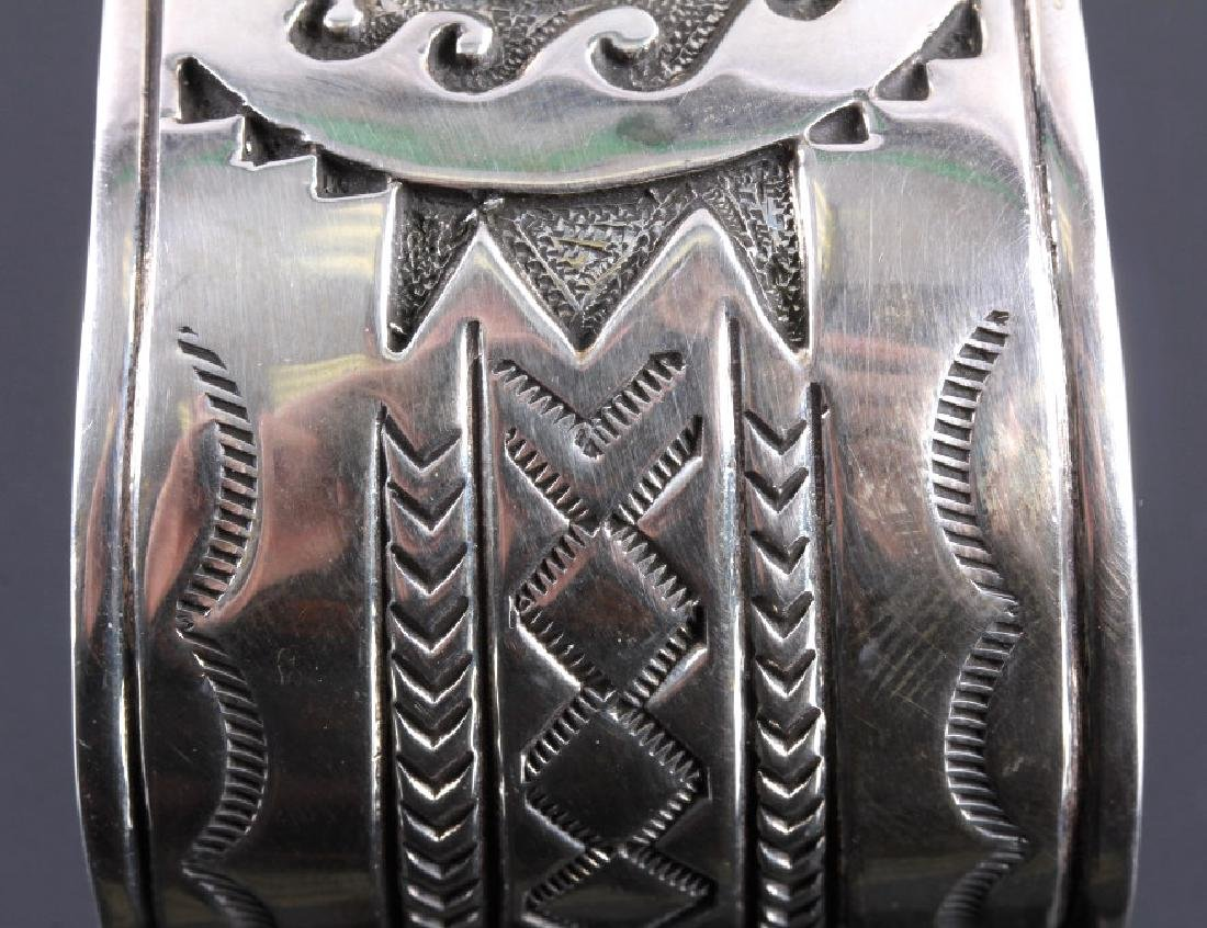 Christopher Hoskie Navajo Sterling Turquoise Cuff - 6