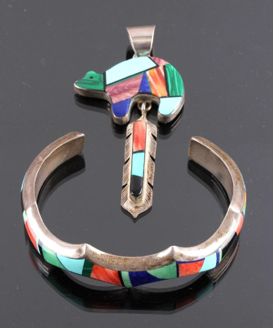 Signed Navajo Sterling Silver Bracelet & Pendant