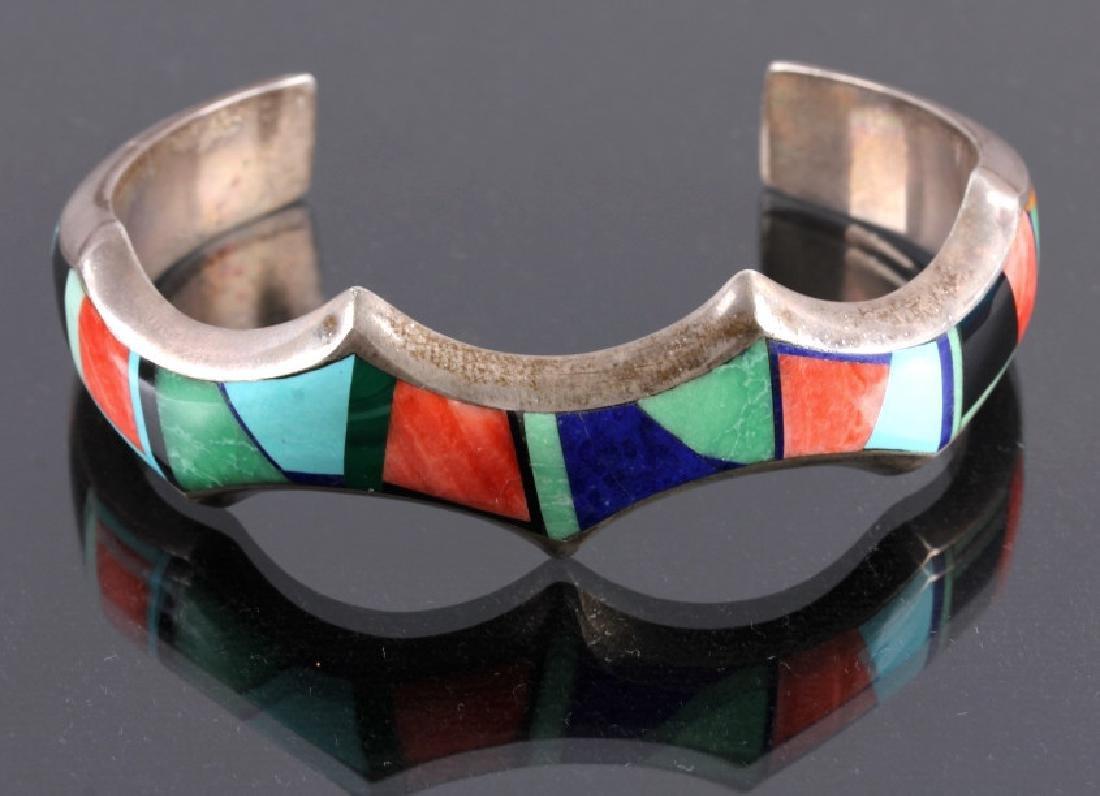 Signed Navajo Sterling Silver Bracelet & Pendant - 2