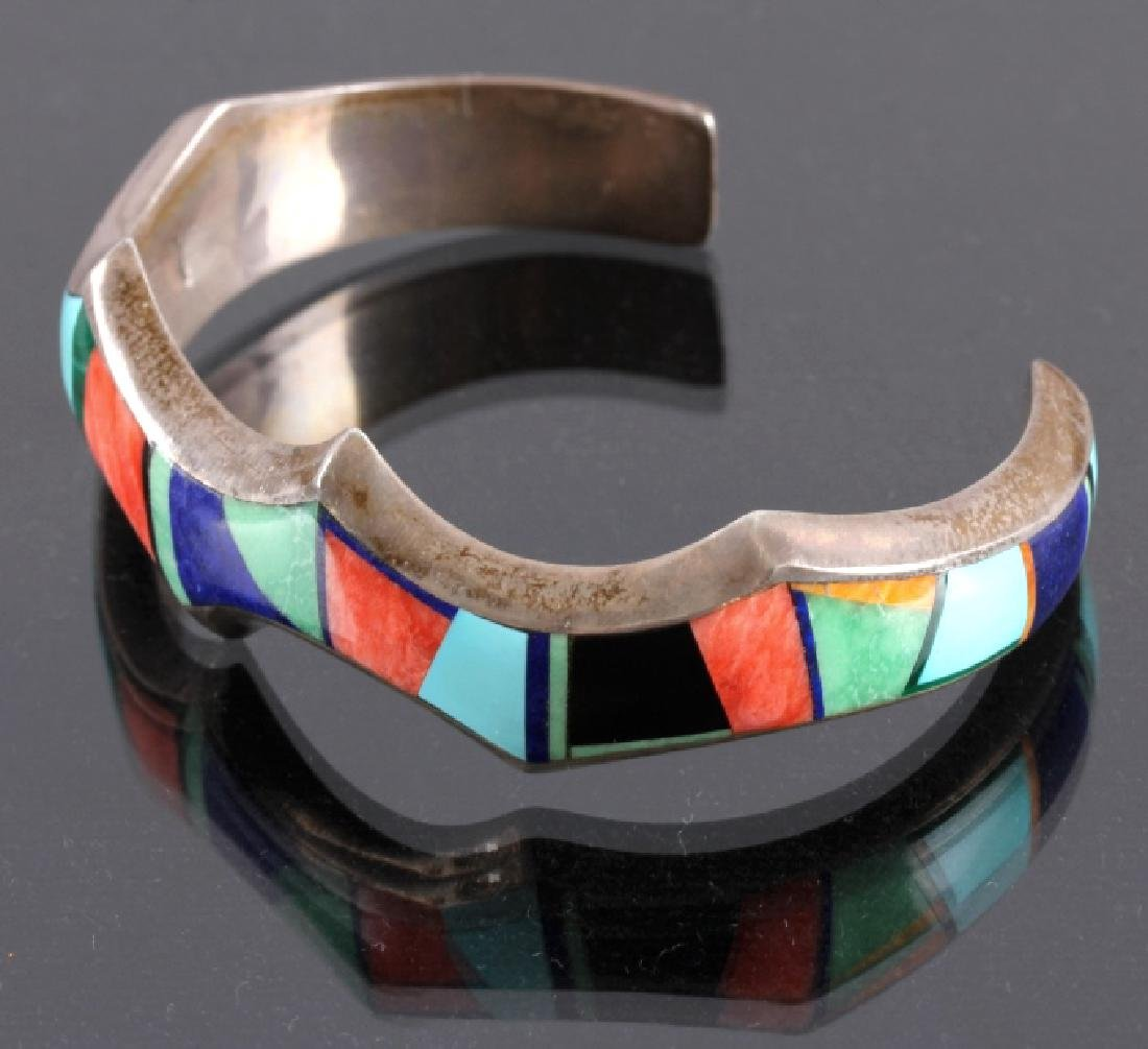 Signed Navajo Sterling Silver Bracelet & Pendant - 3