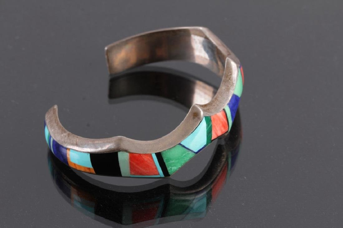 Signed Navajo Sterling Silver Bracelet & Pendant - 4