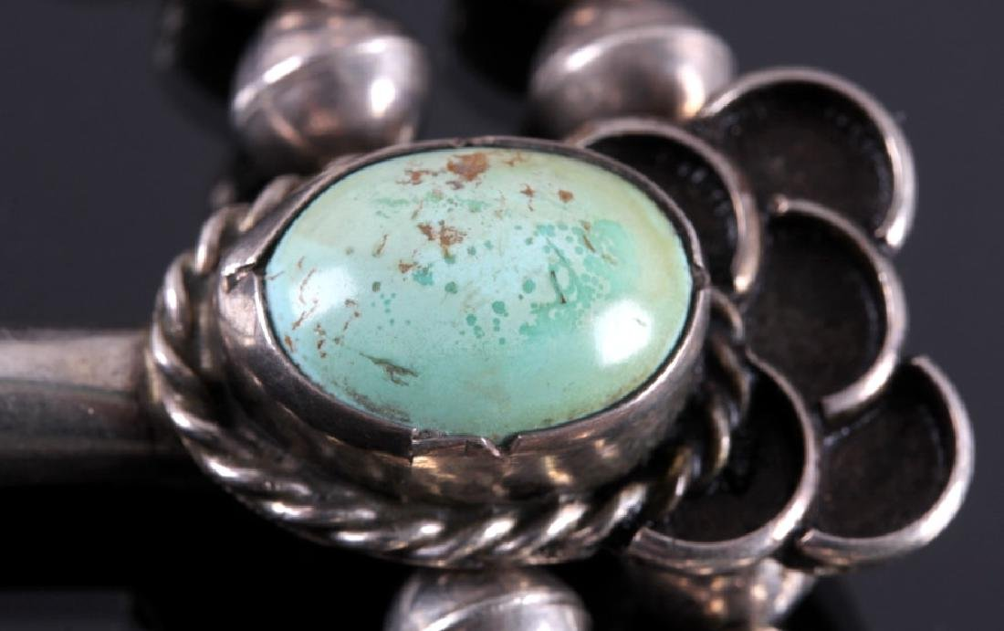 Navajo Sterling Silver Turquoise Squash Blossom - 10