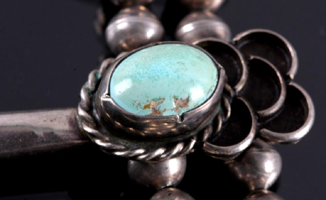 Navajo Sterling Silver Turquoise Squash Blossom - 11