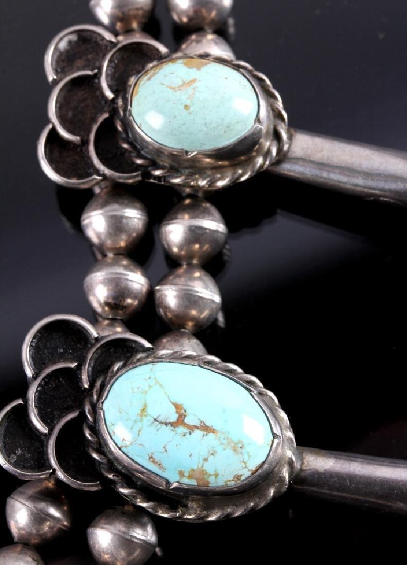Navajo Sterling Silver Turquoise Squash Blossom - 12