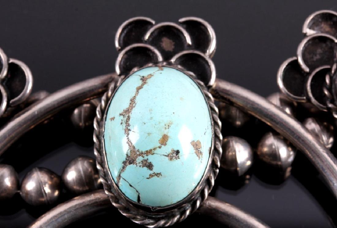 Navajo Sterling Silver Turquoise Squash Blossom - 5