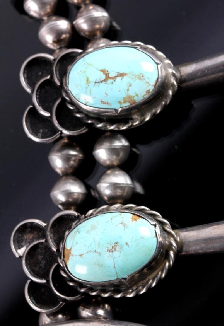 Navajo Sterling Silver Turquoise Squash Blossom - 6