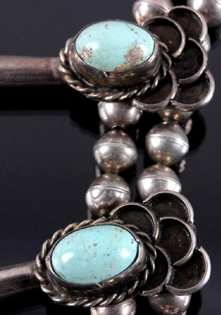Navajo Sterling Silver Turquoise Squash Blossom - 7