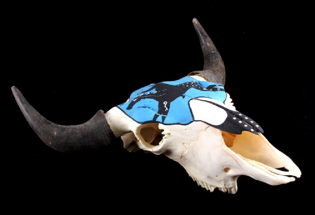 Sioux Native American Indian Painted Buffalo Skull - 6
