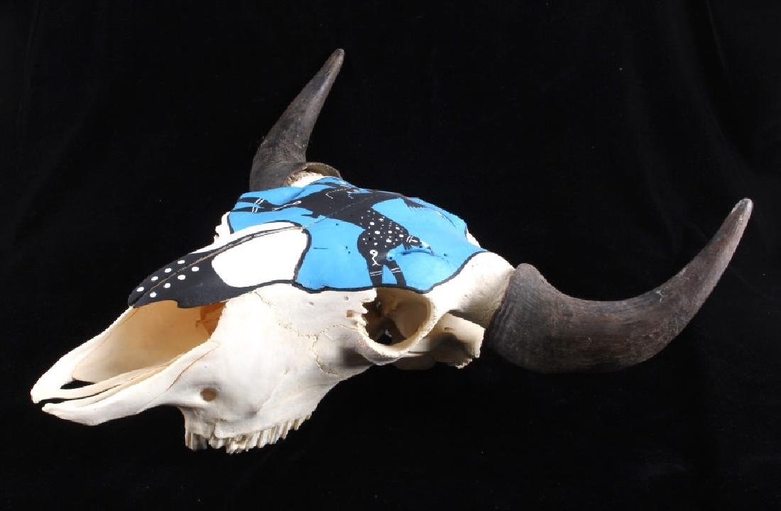 Sioux Native American Indian Painted Buffalo Skull - 7