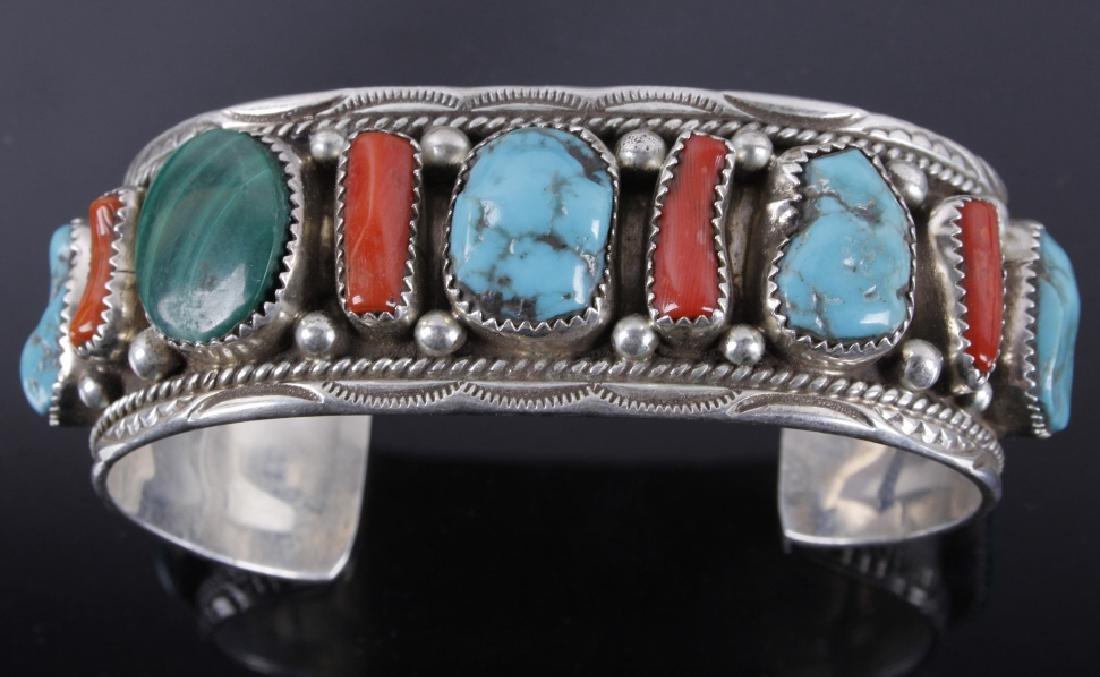 Navajo Turquoise Coral & Malachite Sterling Cuff - 3