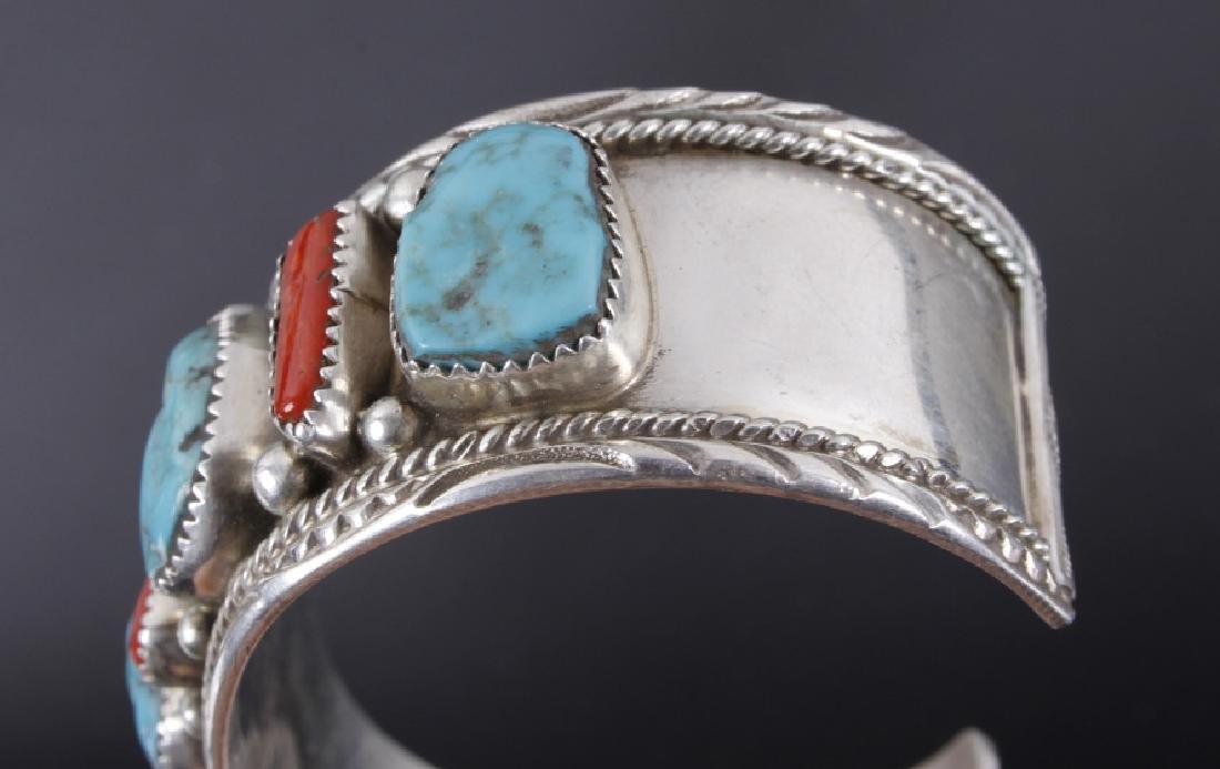 Navajo Turquoise Coral & Malachite Sterling Cuff - 4