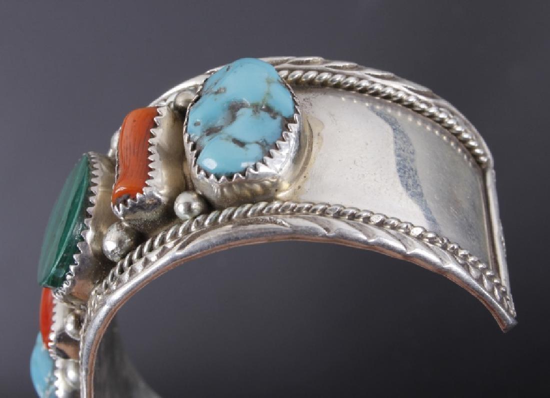 Navajo Turquoise Coral & Malachite Sterling Cuff - 5