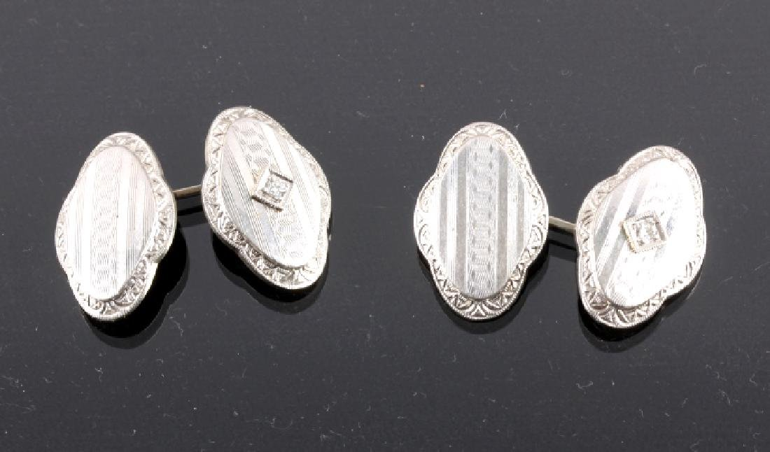 1930's 14K White Gold & Diamond Cufflinks