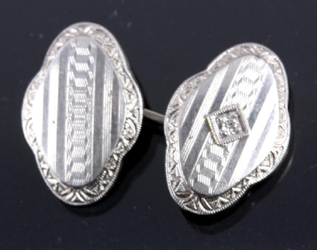 1930's 14K White Gold & Diamond Cufflinks - 2