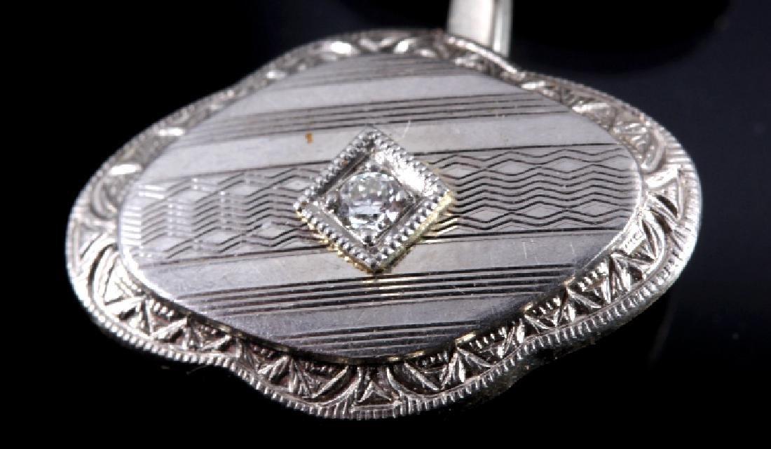 1930's 14K White Gold & Diamond Cufflinks - 4