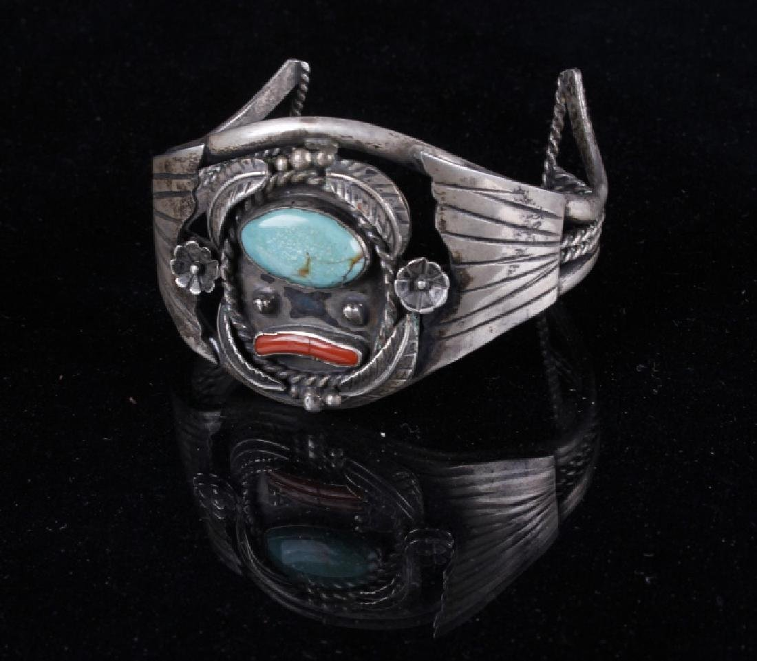 Sterling Navajo Turquoise and Coral Bracelet - 2