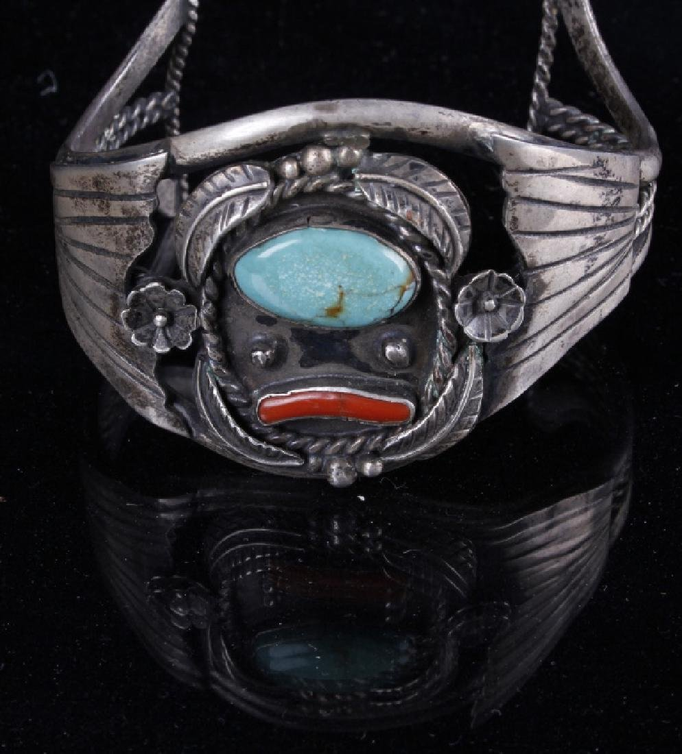 Sterling Navajo Turquoise and Coral Bracelet - 4