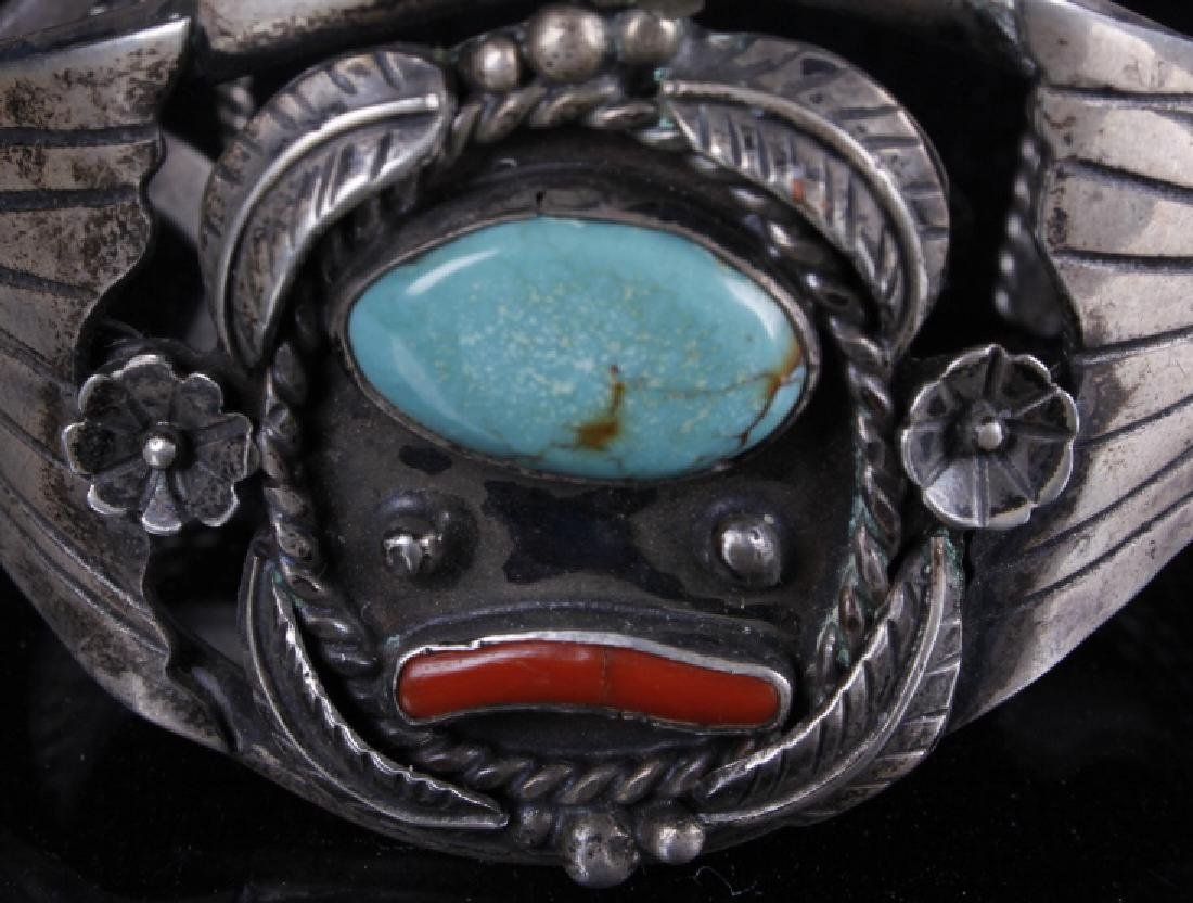 Sterling Navajo Turquoise and Coral Bracelet - 5