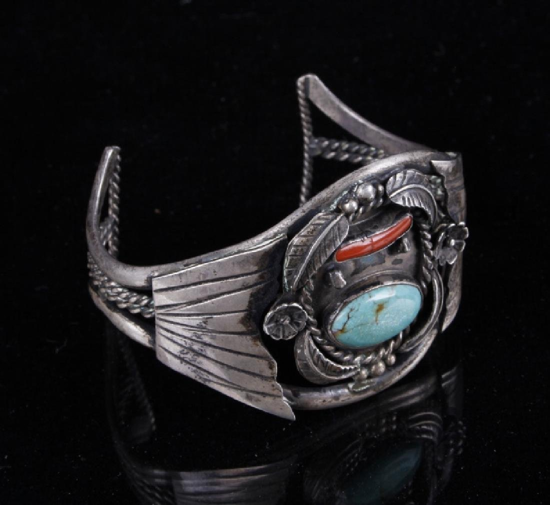 Sterling Navajo Turquoise and Coral Bracelet - 7