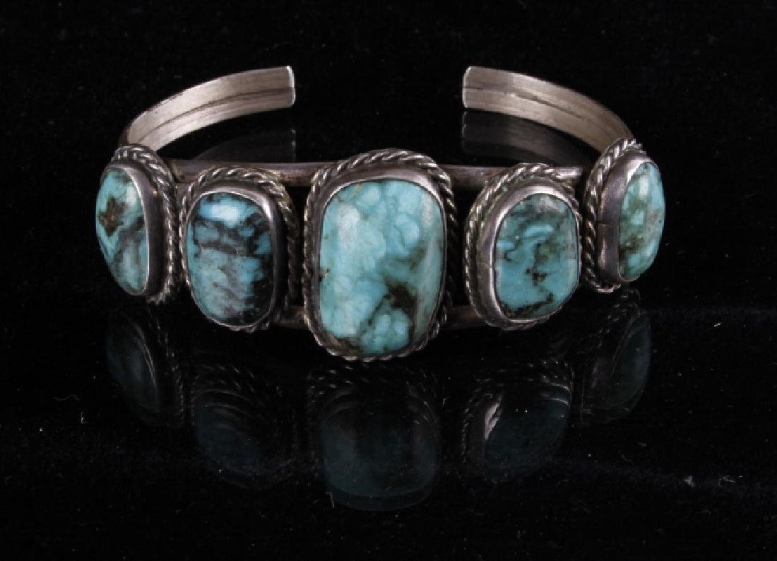 Navajo Sterling & Turquoise Bracelet - 3