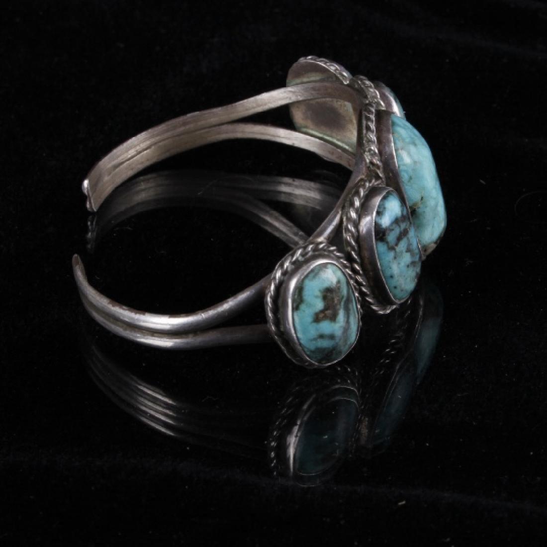 Navajo Sterling & Turquoise Bracelet - 5