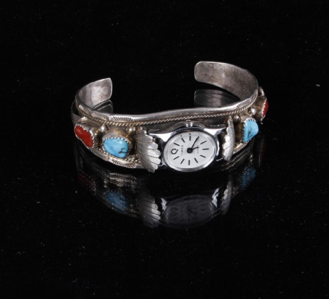 Sterling Silver Turquoise And Coral Watch Band