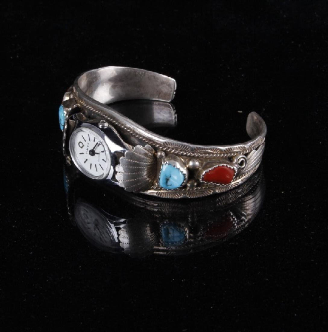 Sterling Silver Turquoise And Coral Watch Band - 2