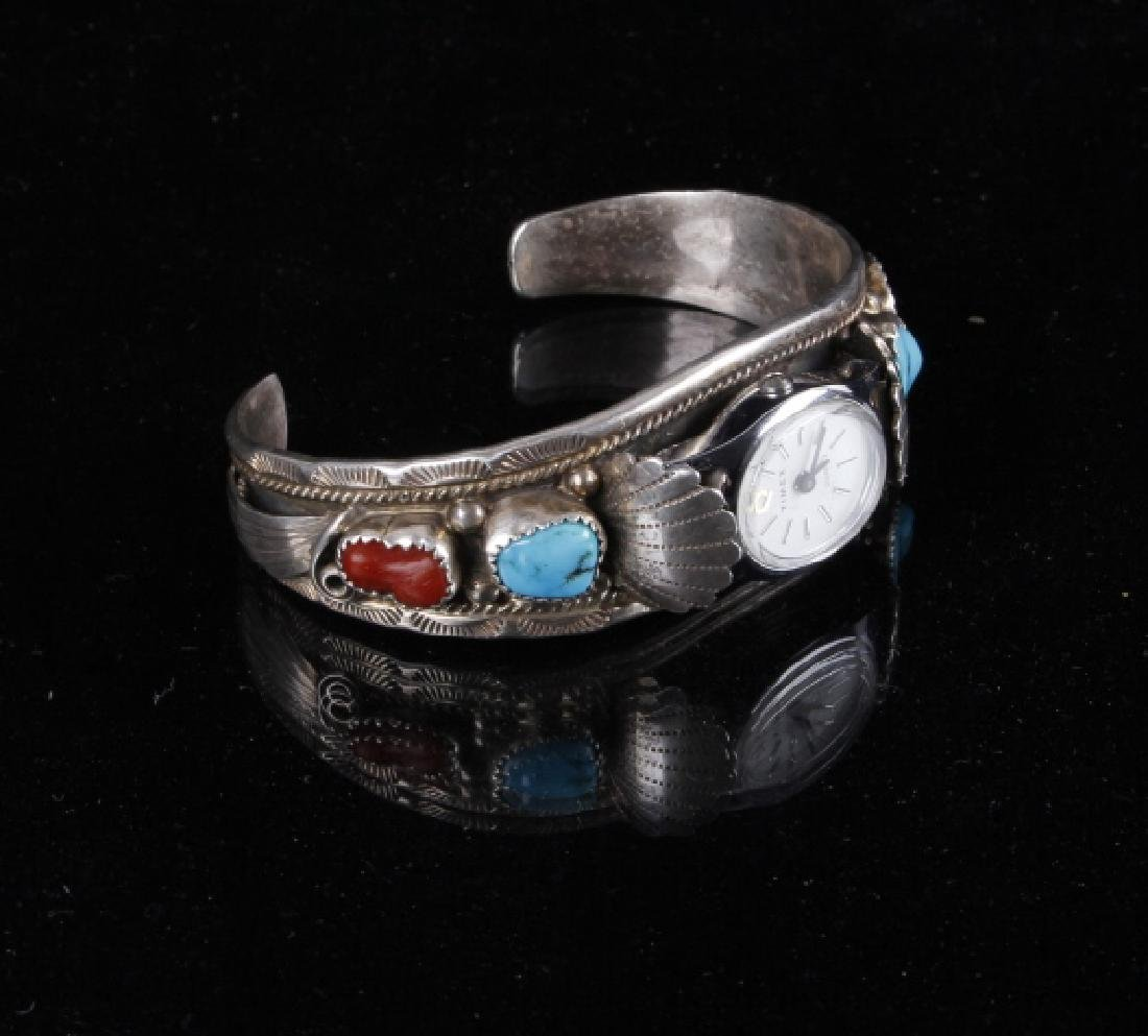 Sterling Silver Turquoise And Coral Watch Band - 3