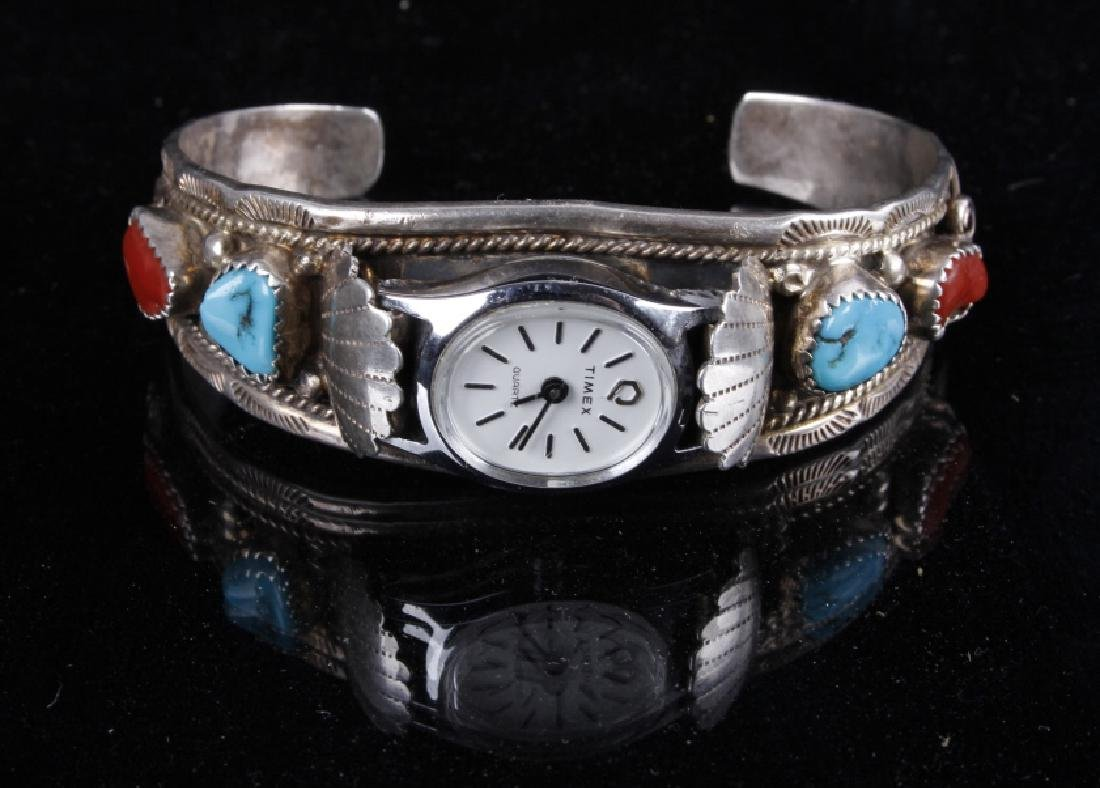Sterling Silver Turquoise And Coral Watch Band - 5