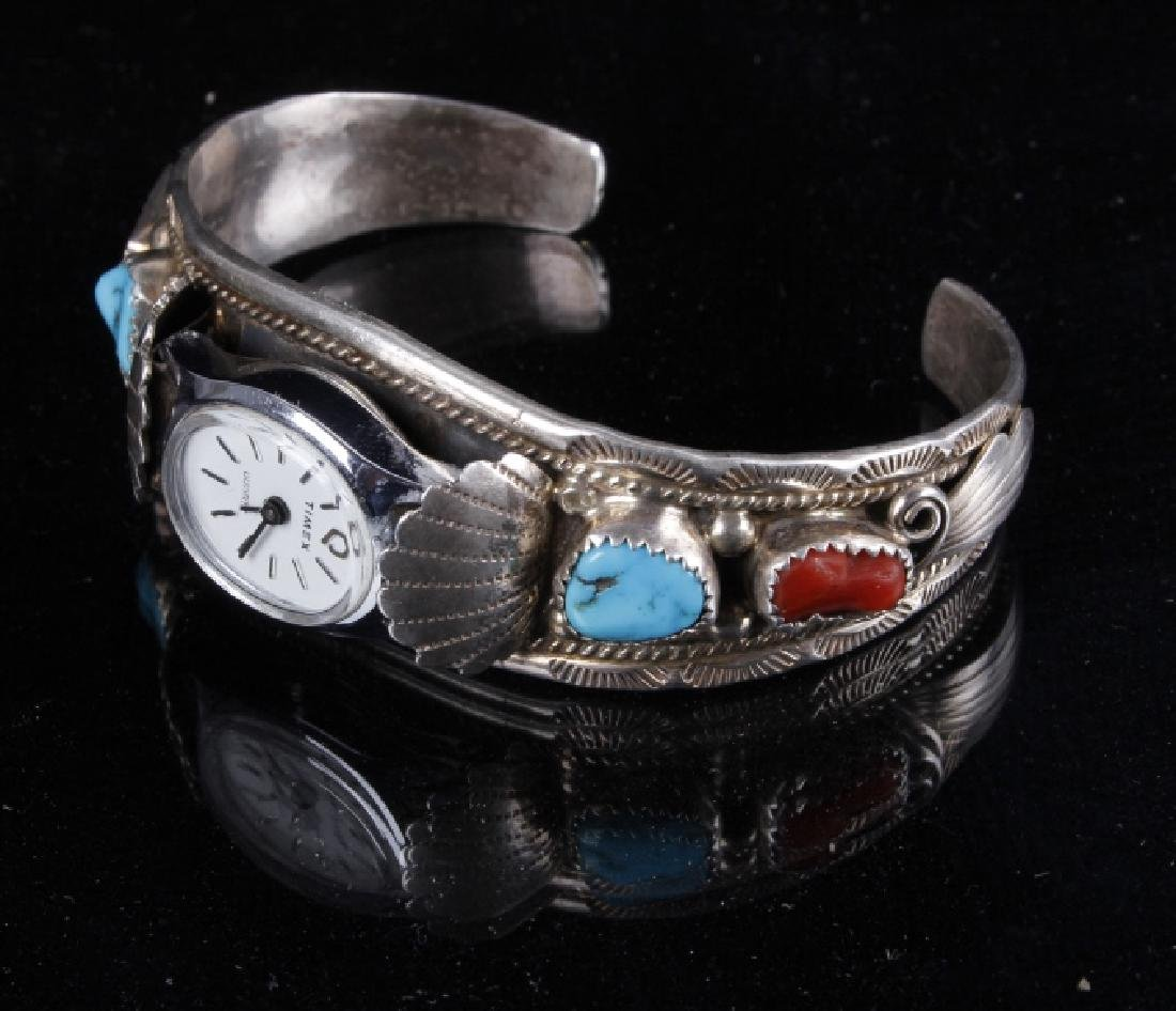 Sterling Silver Turquoise And Coral Watch Band - 6
