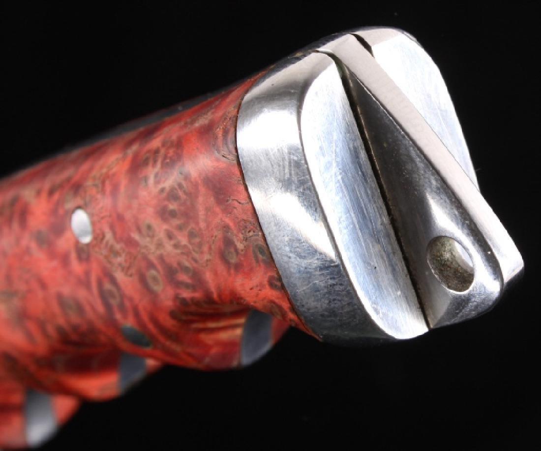Custom L Ramon Dyed Burl Handle Knife & Sheath - 12