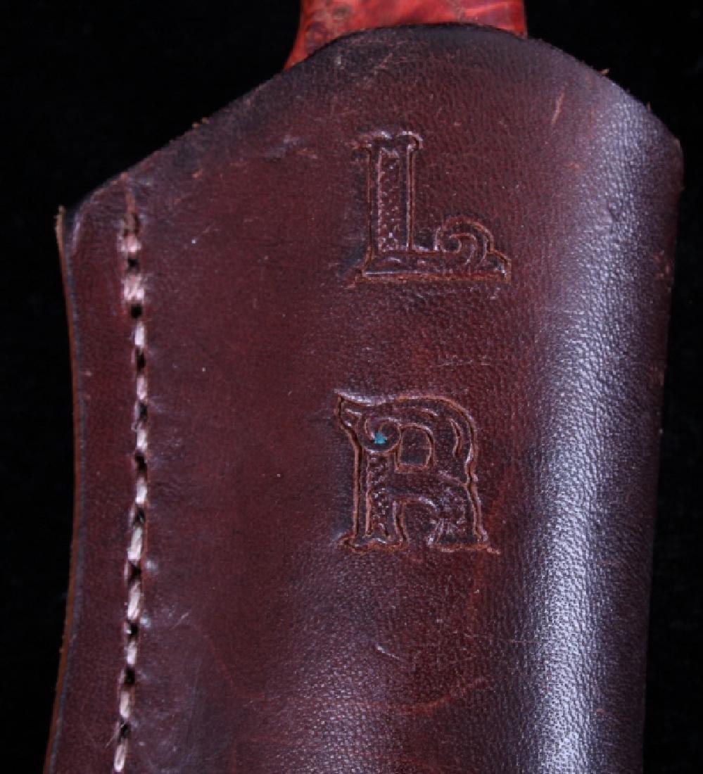 Custom L Ramon Dyed Burl Handle Knife & Sheath - 14