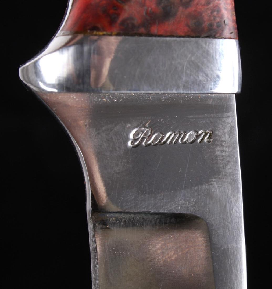 Custom L Ramon Dyed Burl Handle Knife & Sheath - 9