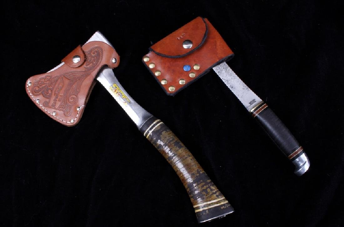Pair of Hatchets With Leather Sheaths