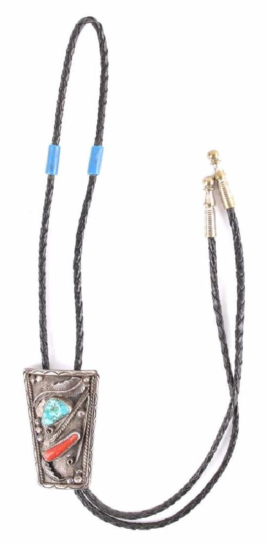 Signed Navajo Silver Turquoise & Coral Bolo Tie