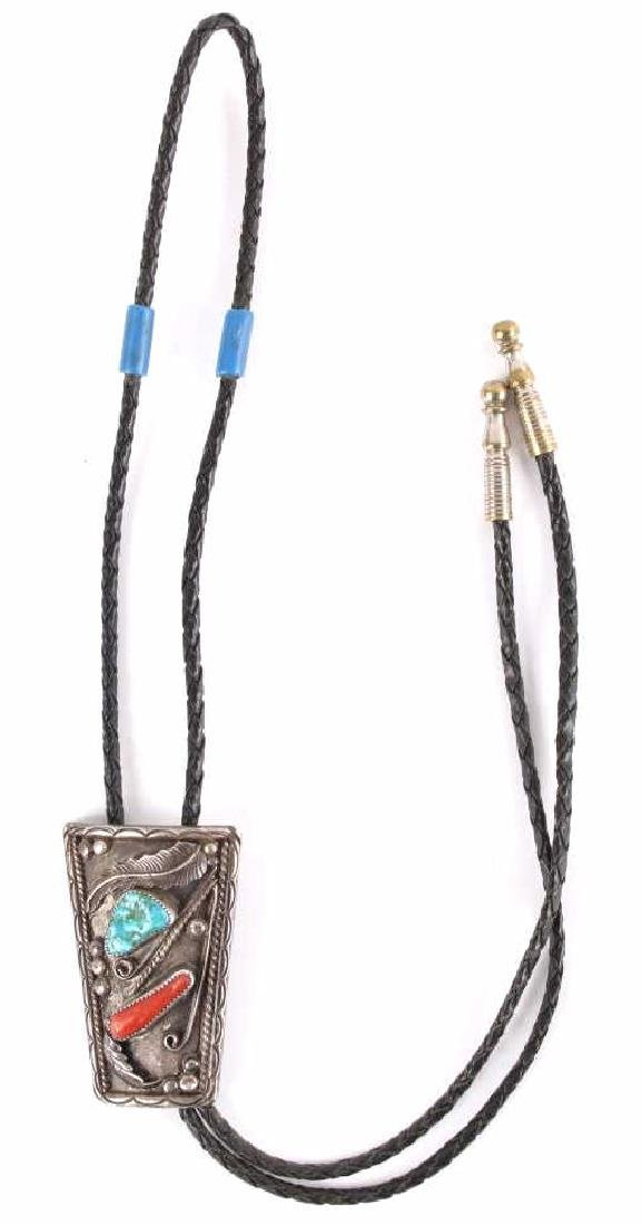 Signed Navajo Silver Turquoise & Coral Bolo Tie - 2