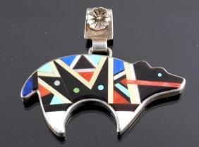 Zuni Bear Pendant Inlaid Mosaic by E. Ohm Satte