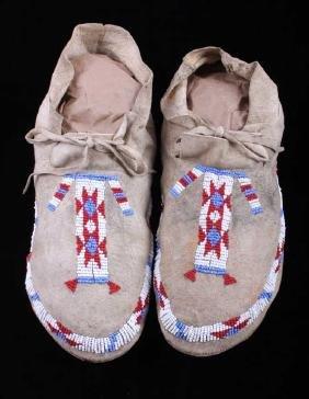 Lakota Sioux Beaded Moccasins circa 1910
