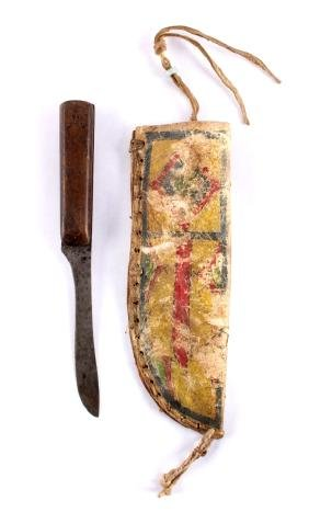 Early Plains Parfleche Sheath & Knife 19th Century