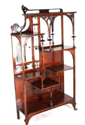 Art Nouveau Cherry Wood Etagere