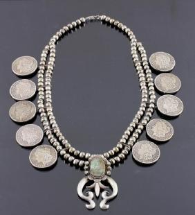 Navajo Morgan Silver Dollar Squash Blossom Signed