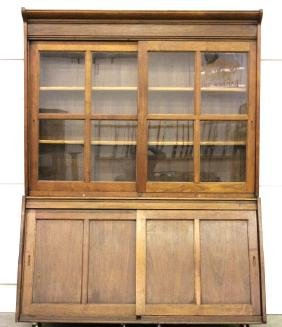 Early Mercantile Dry Goods Cabinet 19th Century